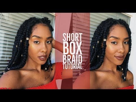 How To Short Box Braids Rubber Band Method Braided Hairstyles Easy Short Box Braids Box Braids Styling