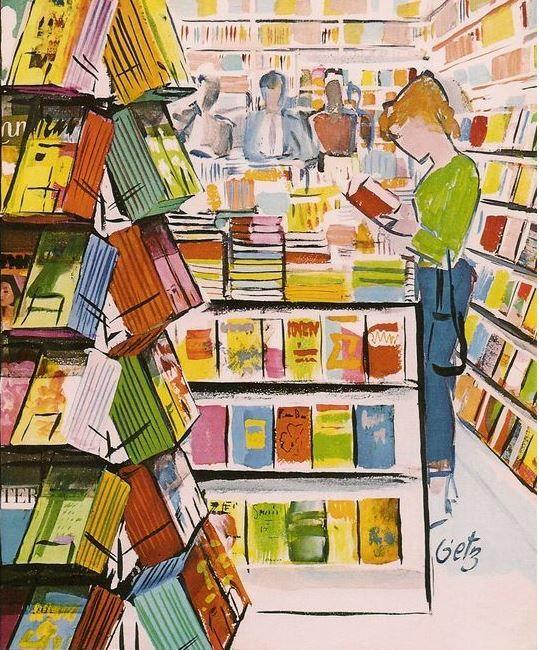 Eligiendo lecturas en la librería (ilustración de Arthur Getz):