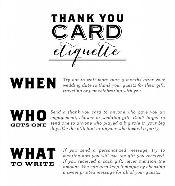 Thank You Card Etiquette Everyone that attends your wedding has – Wedding Thank You Card Wording for Money Gift