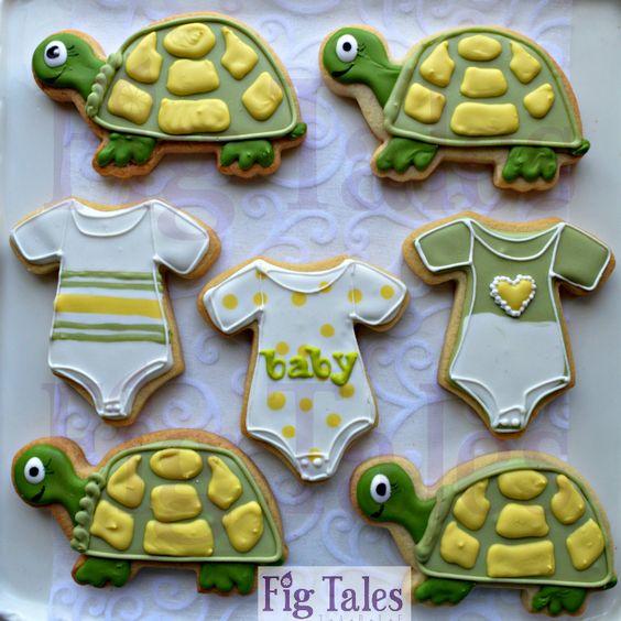 #FigTales #Turtles #BabyShower #SugarCookies #RoyalIcing #Cookies #Baby #Onesie