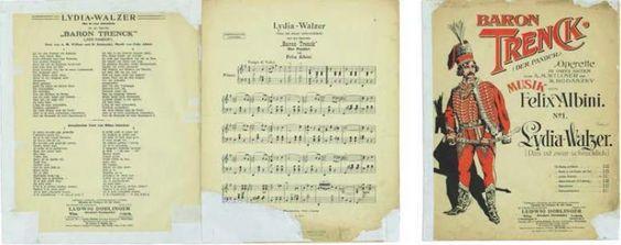 """Srećko Albini. Lydia-Walzer : (Das ist zwar schrecklich) aus der Operette """"Baron Trenck"""" (Der Pandur) von Felix Albini. – Wien : Ludwig Doblinger, cop. 1908."""