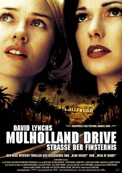 Mulholland Drive (2001) by David Linch ♥♥♥♥♥ After a car wreck on the winding Mulholland Drive renders a woman amnesic, she and a perky Hollywood-hopeful search for clues and answers across Los Angeles in a twisting venture beyond dreams and reality