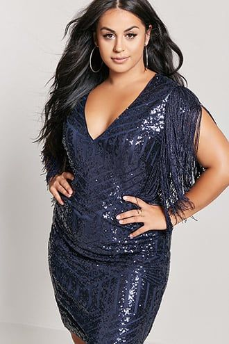 f00e5624f7b Plus Size Sequin Fringe Dress