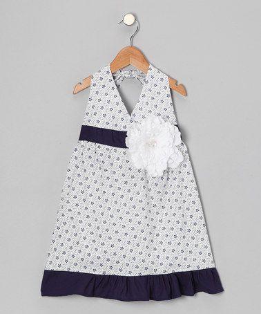 Look what I found on #zulily! White & Navy Daisy Halter Dress - Toddler & Girls #zulilyfinds