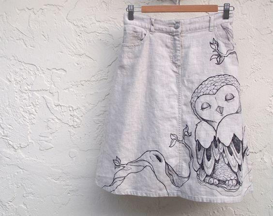 Linen Hand Drawn Owl Skirt #owl #skirt
