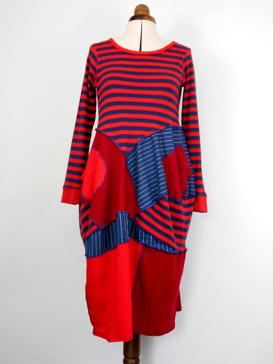 Upcycled Red and Blue Striped Teeshirt Dress / Recycled Teeshirt Tunic Dress…