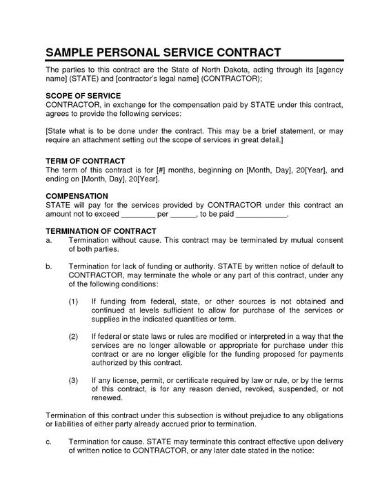 Service Contract SAMPLE PERSONAL SERVICE CONTRACT – Personal Service Contract