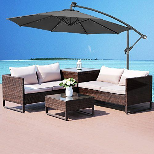 Costway 3m Outdoor Led Parasol Patio Solar Sun Shade Gard Https