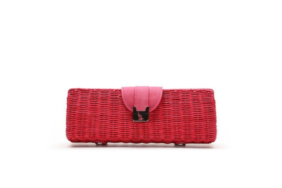 Bolso de mano - Clutch de rafia en color rojo | HAZELNUT