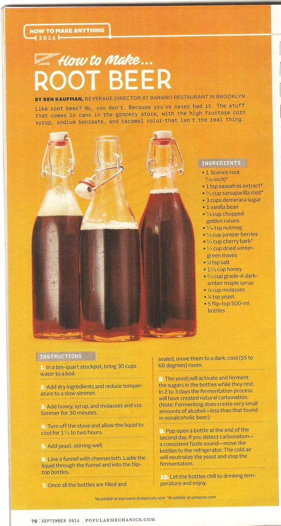 How to make Root Beer. From Popular Mechanics magazine Sept 2016
