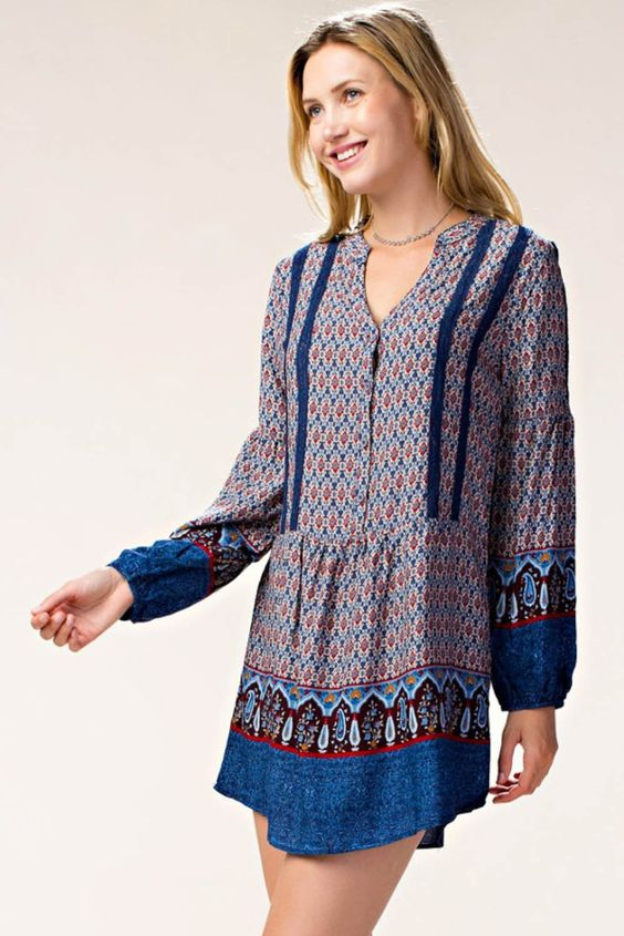 Long Sleeve with Front Lace Trim Printed Dress