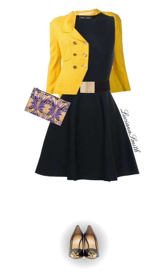 """Black & Yellow"" by lucianasmith ❤ liked on Polyvore featuring Chanel, Proenza Schouler, Giuseppe Zanotti and Prada"