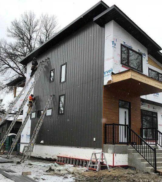 20 Beautiful Exterior Home Siding Design Ideas Yentua Com Vertical House Siding House Siding Metal Siding House