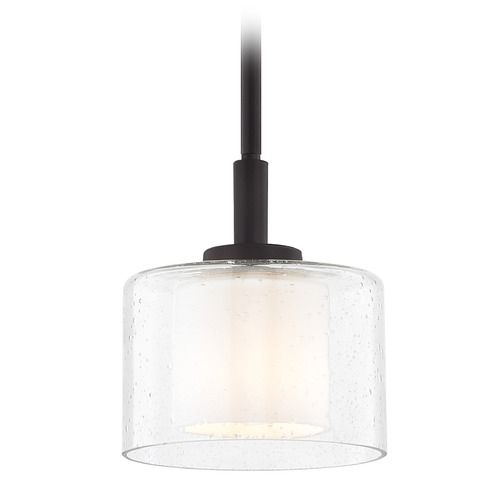 Modern Neuvelle Bronze Mini Pendant With Satin White And Clear