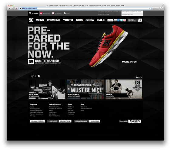 DC Shoes Australia Website Elements by Andrew Strack, via Behance