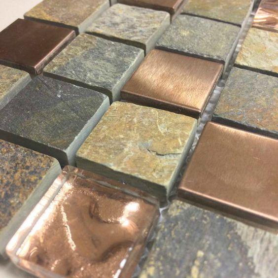 Discount Glass Tile Store - Earth Stone Series - E320 1x1-in Glass, Copper Metal
