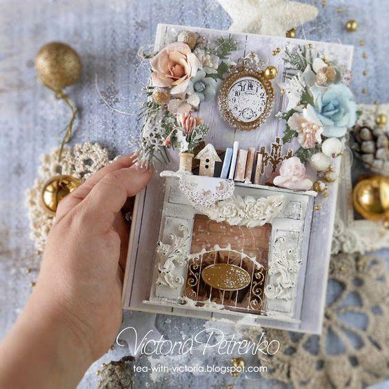 За чашкой чая: Видео МК Рождественской открытки с камином / Video tutorial Christmas Card