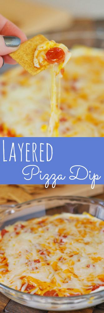 Layered Pizza Dip! Make this for your next party!