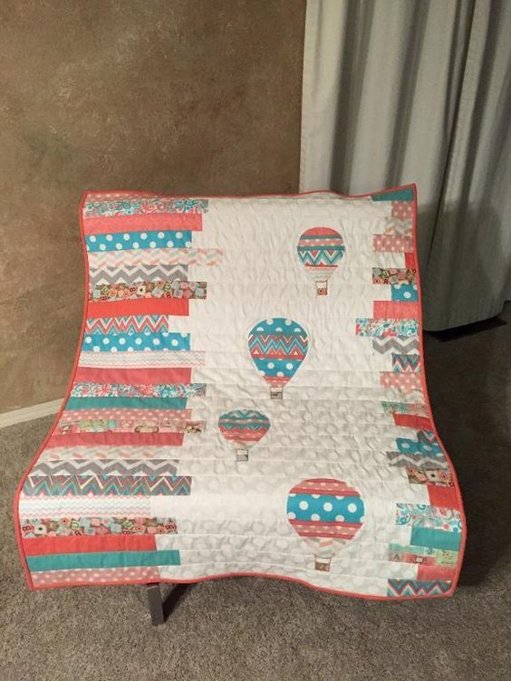 Looking for quilting project inspiration? Check out Hot air balloons baby quilt…