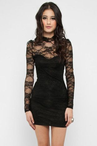 High Collar Lace Dress in Black $38 at www.tobi.com