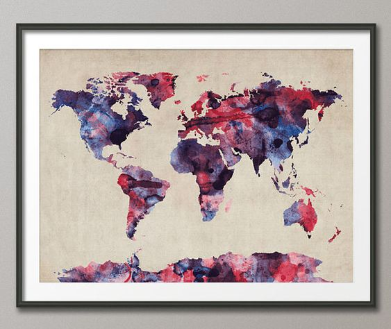 Watercolor Map of the World Map Art Print  12x16 and by artPause, £12.99