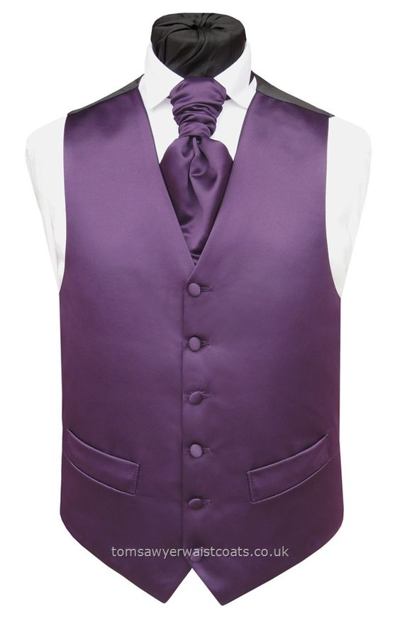 Purple Satin Waistcoat - what my groomsmen wore at our wedding but with a champagne colored shirt.