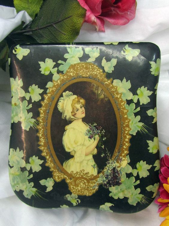 Antique PERFUME BOX dresser VANITY box PORTRAIT Victorian Lady CELLULOID violets