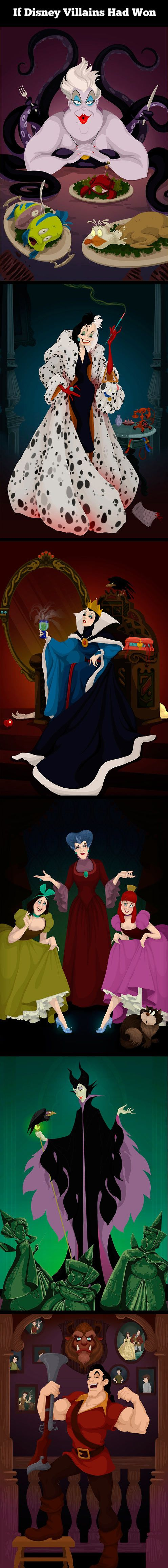 What would had happened if the Disney villains had won. Its weird to see pictures of Belle and Gaston's boys if beast had been slayed