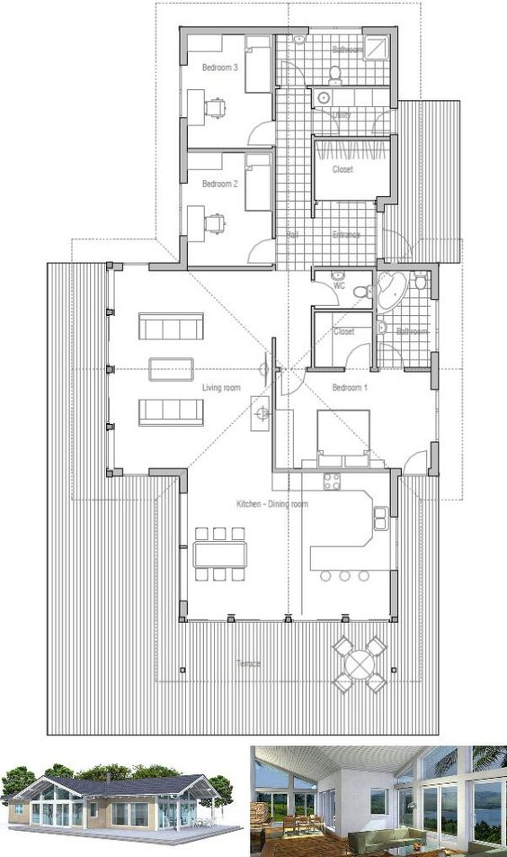 Small house plan vaulted ceiling spacious interior for Open floor plans with vaulted ceilings