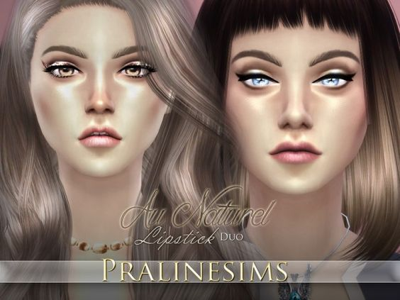 The Sims Resource: Au Naturel Lipstick Duo by Pralinesims • Sims 4 Downloads