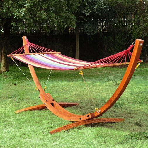Gadson Arc Patio Chair Hammock With Stand Hammock Stand Hammock Outdoor Wooden Swing
