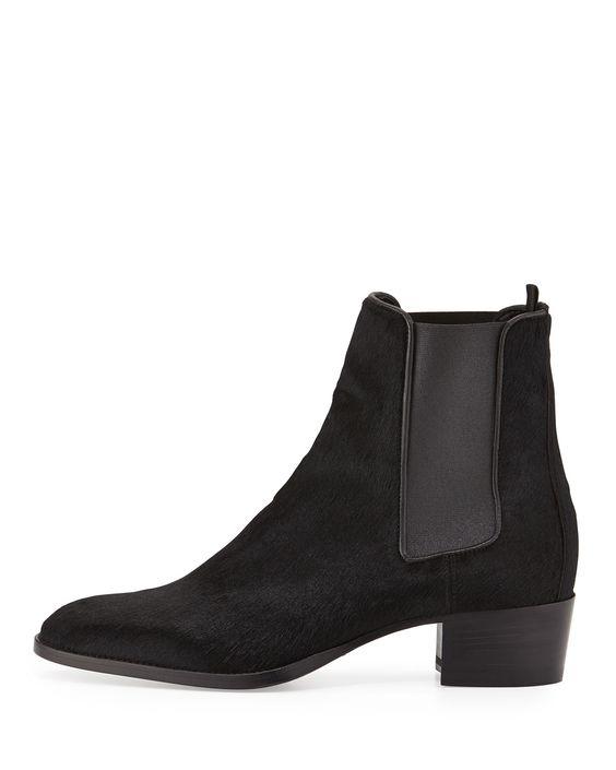 Wyatt Calf-Hair Boot, Black