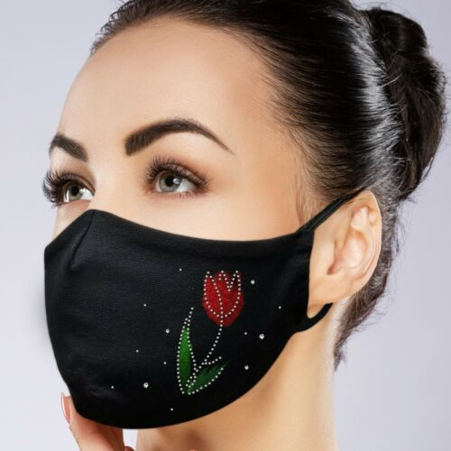 Custom Face Mask Black Facemask Washable Reusable Handpainted with Rhinestones | eBay