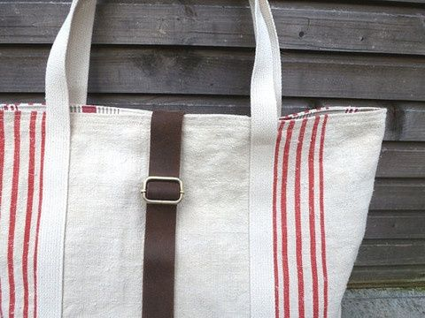 burlap totes with leather handles - Bing images