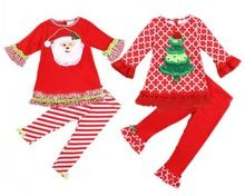 2016New Christmas Baby Clothing Sets Boys&Girls Cute Santa Clause Xmas Tree Appliqued Suits Long Sleeve T Shirts+Pants 2pcs Sets(China (Mainland))