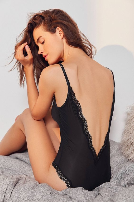 Slide View: 2: Calvin Klein Sheer Lace Low-Back Bodysuit