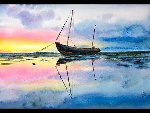 Watercolor Fisherman S Boat On A Water Painting Tutorial Water