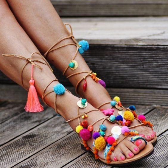 Elian Linardaki Penny Lane Sandals Elina Linardaki Penny Lane Sandals - Made in Greece - Sold out everywhere! Adorable tie up gladiators with Pom Pom and charm detail Shoes Sandals