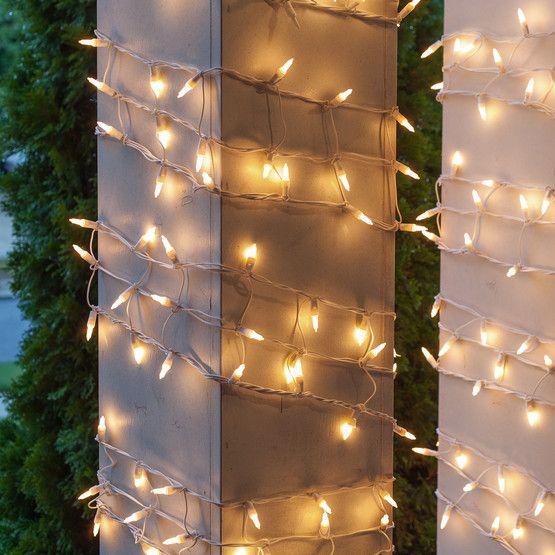 "6"" W x 15' H Column Wrap - 150 White Frost Lights, White Wire"