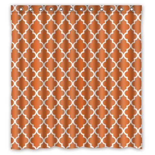 Jane Quatrefoil Orange And White Lattice Shower Curtain With Rings