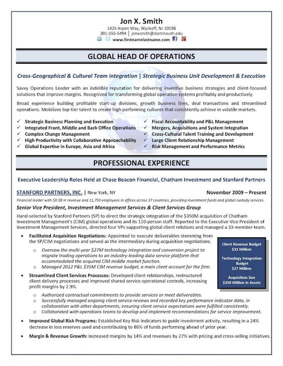 Chief Operations Officer (COO) - Global Operations Director Resume - operations director job description