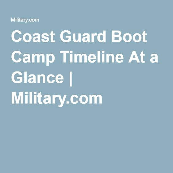 Coast Guard Boot Camp Timeline At a Glance | Military.com