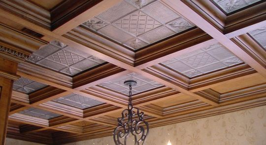 Copper Tiles Inset Into A Coffered Ceiling Ceiling Tiles Ceiling Design Modern Modern Ceiling