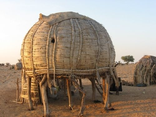 A Turkana home in the Northwestern part of Kenya.: