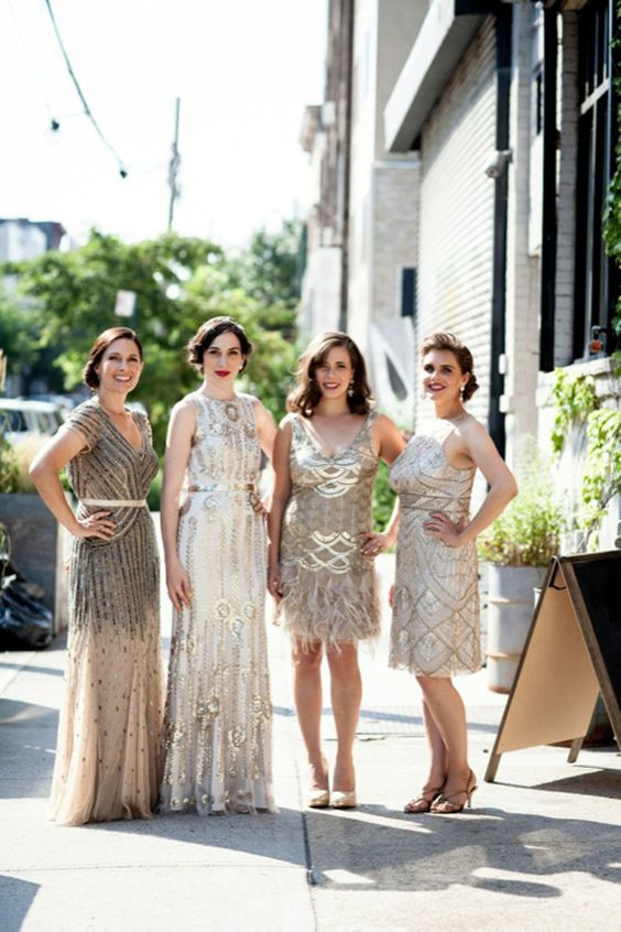 Art Deco Bridesmaids 20s themed Brooklyn flapper wedding | Photo by Brookelyn Photography of The Wedding Artist Collective: