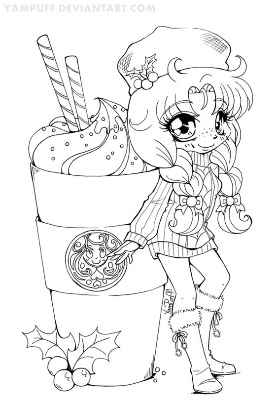 Yambucks Chibi Lineart Coloring Contest By Yampuff Anime Vire Coloring Pages Printable