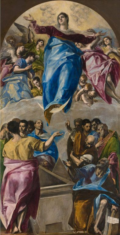 Domenikos Theotokopoulos, called El Greco Spanish, born Crete, 1541–1614  The Assumption of the Virgin, 1577–79  Oil on canvas 158 3/4 x 83 3/4 in. (403.2 x 211.8 cm); original image, approximate: 156 1/16 x 79 3/4 in. (396.4 x 202.5 cm) Inscribed on paper at lower right in Greek: (Domenikos Theotokopoulos, Cretan, displayed this in 1577)