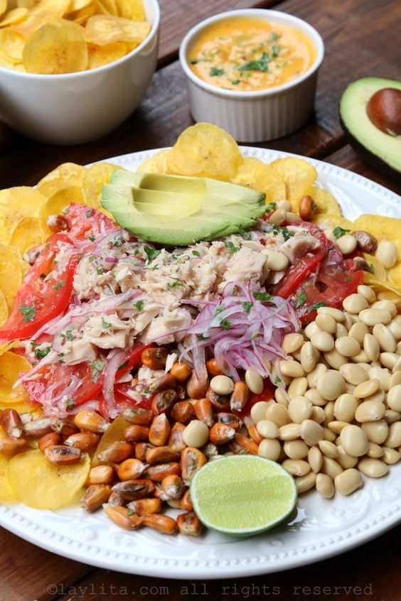 Tuna fish ceviche with avocado, plantain chips, lupini beans, toasted ...