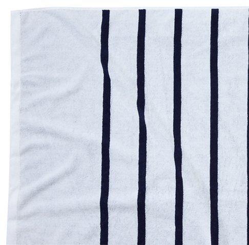 Breton Stripe Beach Towel White Navy With Images Striped