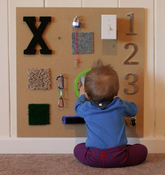 DIY Sensory Board - #playroom #DIY #forbaby: Playroom, Sensory Boards, Toddler, Sensory Wall, Kiddo